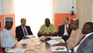 (L-R) Mr Mukhtar,  Mr. Zhang Bin (Deputy Ambassador Chinese Embassy in Nigeria), Mr. Charles Onunaiju (Director Centre for China Studies),  Mr. Yan Xiangdong (Director, China cultural centre in Nigeria), Dr. Usman, Dr. Sheriff