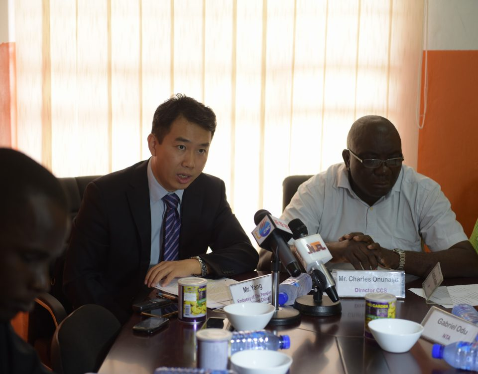 Mr.Yang Guanda Director of Political Section of the Chinese Embassy in Nigeria giving Introductory Remarks on China-Nigeria Relationship at a media interactive session held at CCS,  Abuja.