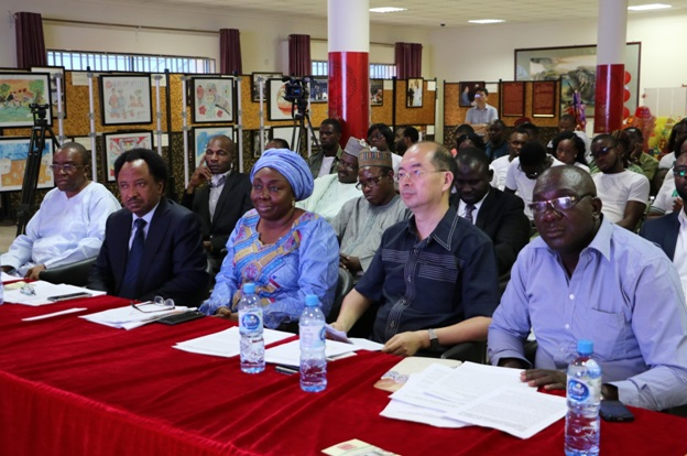 R-L: Director, Centre for China Studies, Charles Onunaiju, Director China Cultural Centre, Mr. Yan Xiangdon, Barr. Ebere of Nigeria Women in Politics, Chairman of the occasion senator Shehu Sani and Chief Atoluma of Abia State Government at the Seminar.