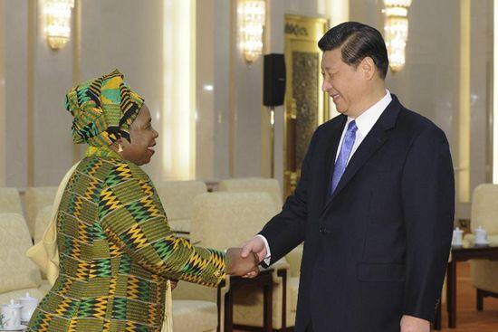 Chinese President Xi Jinping and Chairperson of African Union (AU) Nkosazana Dlamini-Zuma