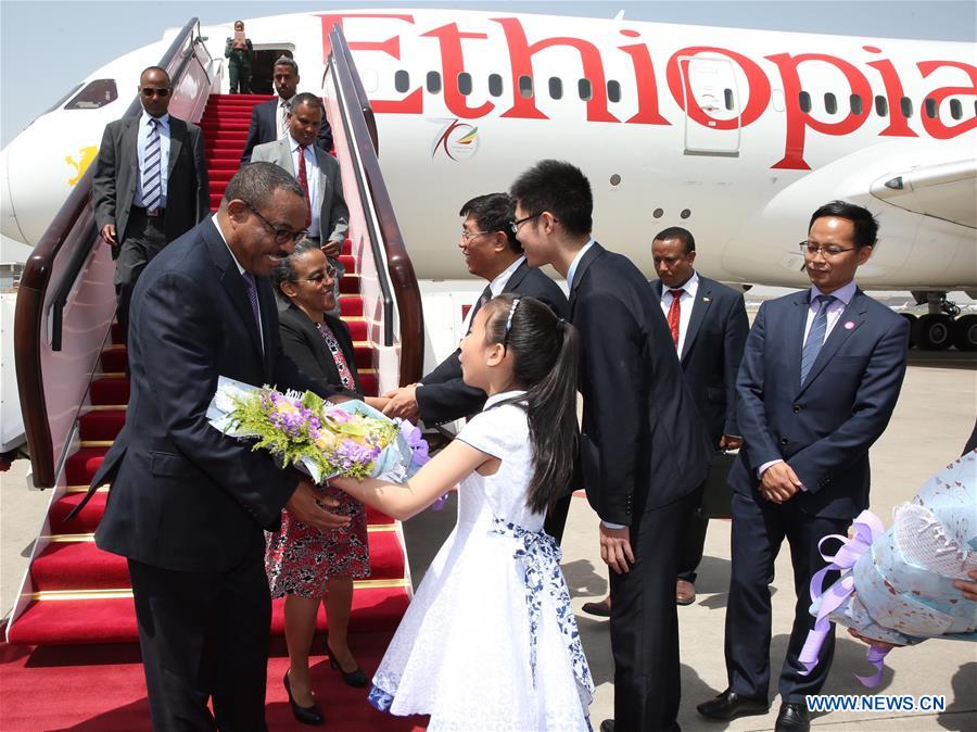Ethiopian Prime Minister Hailemariam Desalegn arrives in Beijing, capital of China, May 12, 2017, to attend the upcoming Belt and Road Forum for International Cooperation