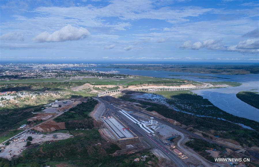 Aerial photo taken on May 12, 2017 shows the Mombasa passenger depot of the Mombasa-Nairobi standard gauge railway in Kenya.