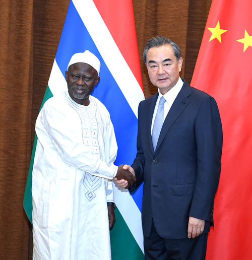 Foreign Minister Wang Yi held talks in Beijing with Foreign Minister Ousainou Darboe of Gambia, who was in China for an official visit.