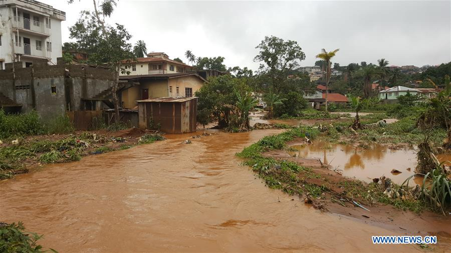 Flooding site in Freetown, Sierra Leone. More than 300 people were killed in a mudslide and flooding on Monday in the area of Sierra Leone's capital Freetown, the national broadcaster said.