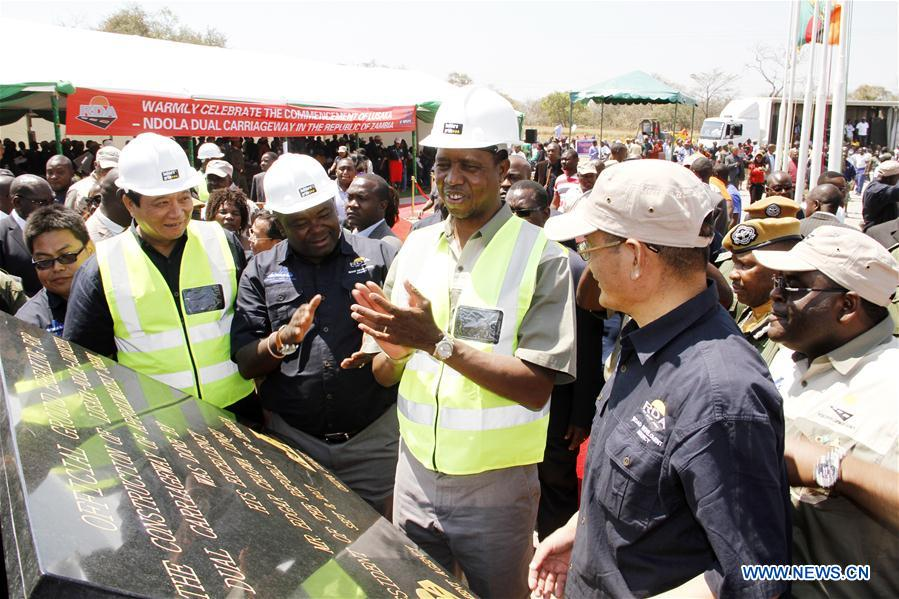 Zambian President Edgar Lungu (C) attends a commencement ceremony of China-funded mega-road project in Chisamba district, central Zambia