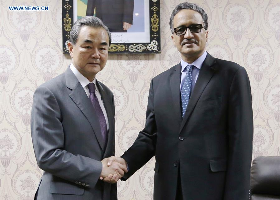 Isselkou Ould Ahmed Izid Bih and Chinese FM Wang Yi